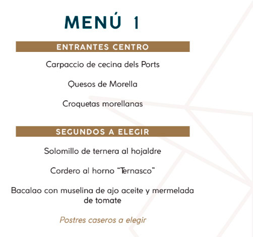 menu morella hotel rural